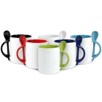 farbige Tassen bedrucken inkl. Löffel